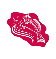 Red Drum Spot Tail Bass Fish Retro vector