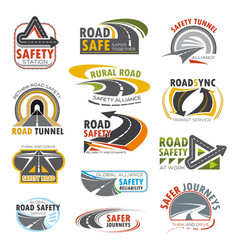 Road highway turn of freeway crossroad icon set vector
