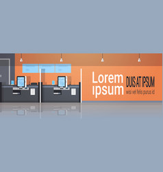 row self service machines payment terminal windows vector image