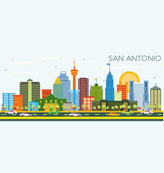 San antonio texas skyline with color buildings vector