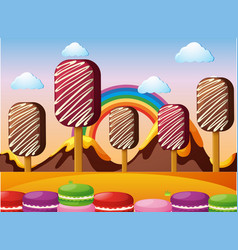 scene with chocolate mountains and icecream field vector image