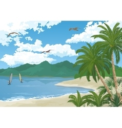 Sea Landscape with Palms and Surfers vector
