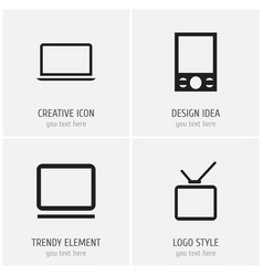set of 4 editable gadget icons includes symbols vector image