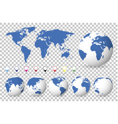 set of globes with different continents and a map vector image
