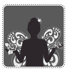 silhouette avatar girl princess vector image
