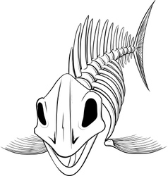 Silhouette skeleton fish vector