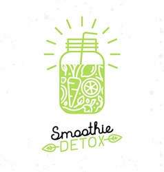 smoothie detox poster in trendy linear flat style vector image