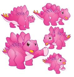 Stegosaurus pink vector