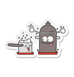 Sticker a bubbling pans cartoon vector