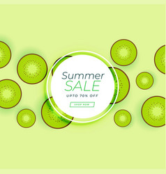 Summer sale banner with kiwi green fruit vector