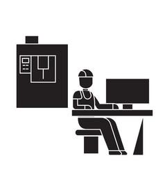 Technician workplace black concept icon vector