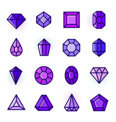 thin line gems icons set vector image