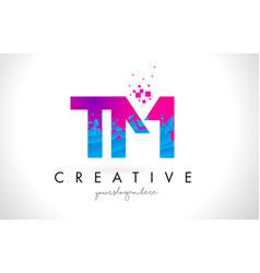 tm t m letter logo with shattered broken blue vector image