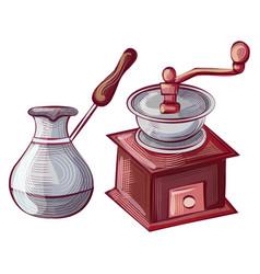 Turkish cezve pot for making coffee grinder set vector