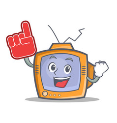 Tv character cartoon object with foam finger vector