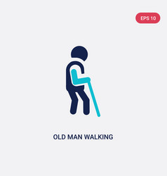 two color old man walking icon from behavior vector image