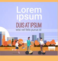 Urban autumn park outdoors activities man woman vector