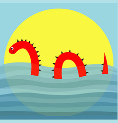 Water monster with thorns eye tail swimming vector