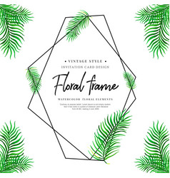 Watercolor tropical leaves frame vector