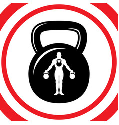 weight sport sign red button with man inside vector image