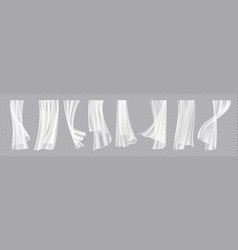 window curtains realistic flowing cloth with wind vector image