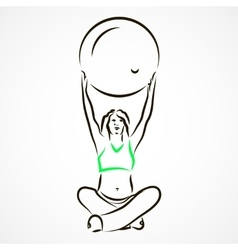 Yoga with fitball vector