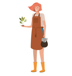 young woman gardener with plant avatar character vector image