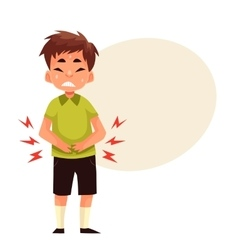 Little boy having stomach ache vector image vector image
