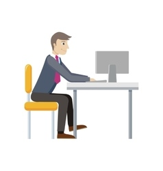 Strategic management manager works at the computer vector
