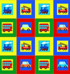 Train Bus Car and Fire truck children seamless vector image vector image