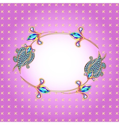 Background frame with gold and precious stones vector