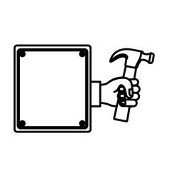hammer in the hand icon stock vector image