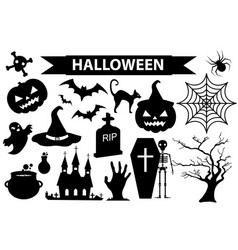 happy halloween icons set black silhouette style vector image