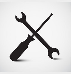 screwdriver and wrench icon tools symbol vector image vector image