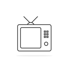 thin line black tv icon vector image