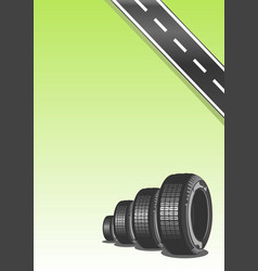 car tire on green background vector image