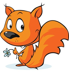 cute red squirrel isolated on white background vector image vector image