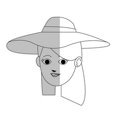 face of pretty young woman wearing sun hat ico vector image vector image