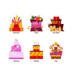 flat cakes collection vector image vector image
