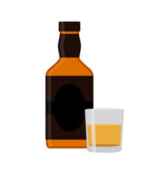 flat rum set alcohol drink glasses shots bottles vector image vector image