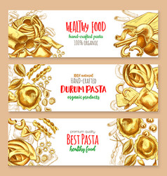 hand-crafted pasta italian cuisine banners vector image vector image