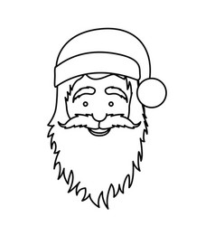 silhouette face cartoon santa claus portrait icon vector image
