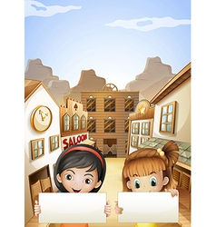 Two kids near the saloon bars holding two empty vector image