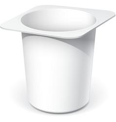 White plastic container for yogurt vector image