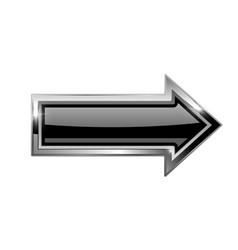 black arrow with bold chrome frame 3d shiny icon vector image vector image