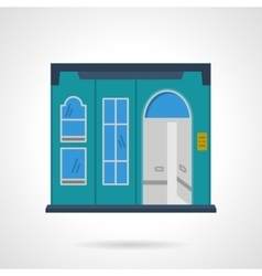 Blue storefront wall flat color design icon vector image