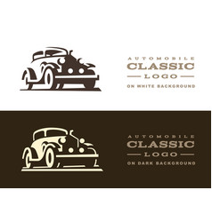 classic car logo design vector image