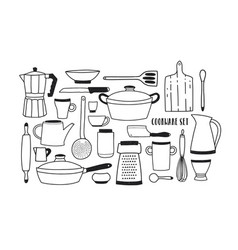 Collection of hand drawn kitchen utensils and vector