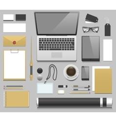 Designer workplace realistic mockup vector image