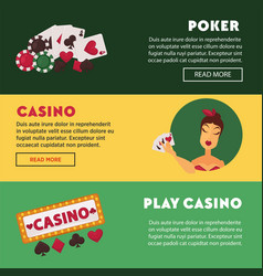 play casino and poker promotional internet posters vector image